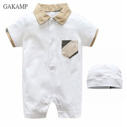 Wholesale Retail Jumpsuits - Retail Summer Short Sleeve Baby Romper Cotton Collar Hooded Children Jumpsuit Baby clothes Solid color For 0-2Years old