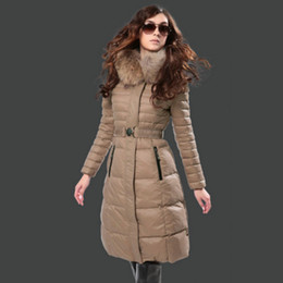 Wholesale Ladies Female Hooded - Fashion Brand Ladies Parka Real Fur Collar Hooded Zipper Belt Two kinds of stripe style Female Long Coats