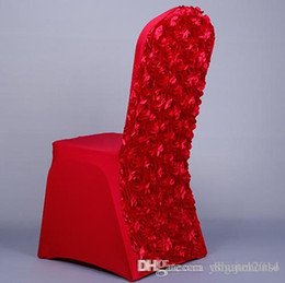 Wholesale Satin White Banquet Chair Cover - New Red Wedding Chair Covers 3D Rose Flower Universal Stretch Spandex Chair Covers for Weddings Party Banquet Table Decoration Whosale Price