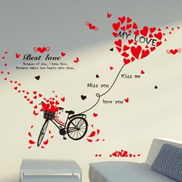 Wholesale Bicycle Stickers For Wall - 50*70cm Wall Stickers DIY Art Decal Removeable Wallpaper Mural Sticker for Bedroom Kids Room Living Room XL7121 Love Heart Bicycle