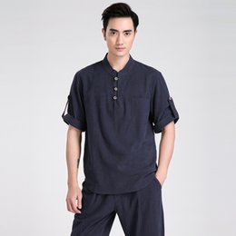 Wholesale Chi Kung Clothing - Wholesale-Summer New Chinese Men Short Sleeve Leisure Casual Shirt Cotton Linen Kung Fu Shirt Tai Chi Clothing S M L XL XXL XXXL 2606