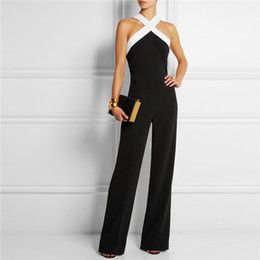e40f8d0efbe8 Playsuits Bodysuits 2016 Summer Elegant Jumpsuit women s overall Black white  stitching Sling Halter Sexy Fashion Large size pants coveralls