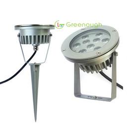 Rgb led spot light 9w online-AC / DC12V IP67 luces al aire libre Spike LED de alta potencia luz del punto del jardín 9W luz del punto del césped LED lámpara del paisaje 60 ° 6pcs
