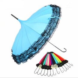 Wholesale lace trimmings wholesale - Pagoda Umbrella Anti-Uv Parasol Sunproof Lace Trim Hook Handle Sunshade Windproof Parasol Princess Umbrella 14 color KKA2119