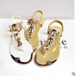 Wholesale Ladies White Heels - 2018 new summer ladies sandals rhinestones after the wrist trip with flip-flops to help flat shoes metal head