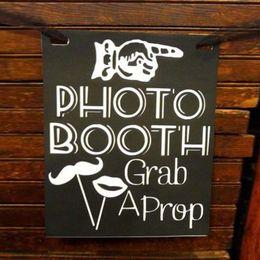 Zeichen fotos online-Kostenloser Versand Vintage Affäre Photo Booth Tafel Holzschild Hochzeit Dekoration