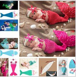 Wholesale Newborn Mermaid Crochet - Baby Shower Crochet Mermaid Swaddles Knit Costume Wraps Newborn Blankets Baby Photography Props Diamond Headband 3PCS set Outfit A1161 10