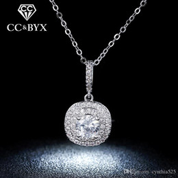 Wholesale Square Necklaces - Wholesale Square Zirconia Diamond Pendents Necklaces For Women Fashion Jewelry White Gold 925 Sterling Silver Vintage Bijoux Femme N012