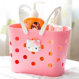 Wholesale Nice Shops - Wholesale- high quality nice HELLO KITTY hand shower bath basket laundry basket for shopping bathroom