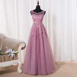 Wholesale Evening Dresses Crystal Tulle Transparent - Robe De Soiree 2016 New Lace Beading Long Evening Dress Bridal Scoop Sleeveless Transparent Banquet Sexy Prom Dress