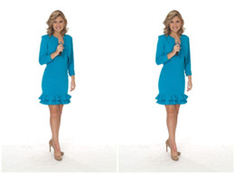 Wholesale Shirt For Women Ruffle - 2017 Sheath Girls Pageant Dresses Two Pieces Ruffles Long Sleeves Short Mini Tiered Shirt Formal Interview Suit For Women New Style