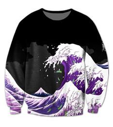 Wholesale Usa 3d - Wholesale-Real USA size Purple Wave Dirty Sprite Fashion 3D Sweatshirt Crewneck Plus Size
