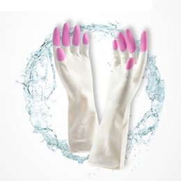 Wholesale Long Sleeve Latex Gloves - Wholesale-Amaizng Long Sleeve latex Kitchen Wash Dishes Dishwashing Gloves Household Gloves Cleaning Tools Accessories