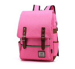 Wholesale College Korean Backpack - US KR School Bag 43cm*29cm Canvas Backpack School Bag Fashion Middle School Backpack Korean Leisure Travel 6 Colors Out088