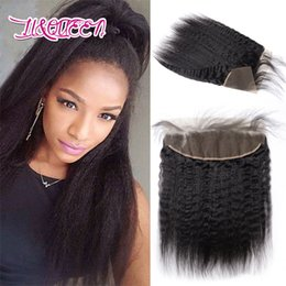 Wholesale Fast Texture - Lace Frontal Closure Human Hair Mongolian Unprocessed Natural Color Kinky Straight Frontal Hair Extensions 8-22 Inch Fast Free Shipping