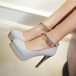 Wholesale Gold Sequin Pumps Shoes - New 2017 female high-heeled shoes with a fine waterproof shoes round silver sequins a shallow mouth buckle diamond bride wedding shoes