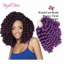Wholesale Cheap Wands - brazilian cheap 8inch wand curl bouncy twist crochet hair extensions Janet Collection synthetic braiding hair ombre crochet hair bundles