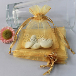 Wholesale Gold Sheer Organza Bag - 50pcs lot Gold Strong Sheer Organza Pouch Wedding Favor Jewelry Gift Candy Bag Event Party Supplies <$16 no tracking