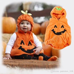 Wholesale Kids Hooded Romper - Halloween Europe and America style Baby kids Lovely pumpkin thickening cotton hooded romper 100% cotton kids romper free shipping