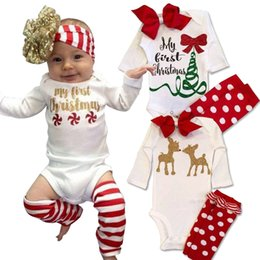 Wholesale Warm Rompers - baby girls clothing set brand 2016 letter my first christmas tree baby clothes cute bow girl rompers polka dot leg warmer girl romper sets