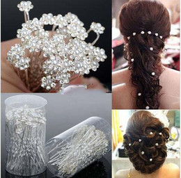 Wholesale Rhinestone Bridal Hair Pins - 2016 Wedding Accessories Bridal Pearl Hairpins Flower Crystal Rhinestone Diamante Hair Pins Clips Bridesmaid Women Hair Jewelry 40 pcs Lot