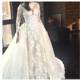Wholesale Removable Ivory Skirt - African Long Sleeves Wedding Dresses With Removable Skirt Sheer Neck Lace Appliques Wedding Dress Custom Made Dubai Bridal Gowns