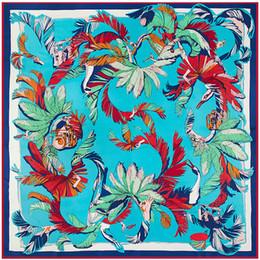 Wholesale Large Feather Headbands - 2017 New Lady Luxury 100% Silk Scarf China Feather Print 130*130cm Large Square Pashmina Women Scarfs Wraps