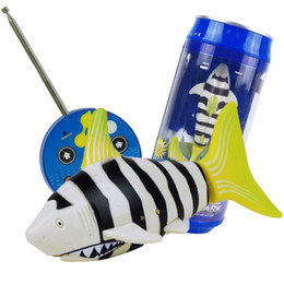 Wholesale Radio Control Fish - Wholesale- 3CH 4 Way RC Shark Fish Coke Can Radio Control RC Mini Electronic Shark Fish Boat Kids Toy Gift