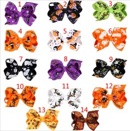 Wholesale Design Hair Bows - 14 Design Girls Halloween pumpkin hairpins Barrettes children spider hair accessories princess Layered Bow Hair clips B