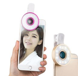 Wholesale Macro Lighting - Flash Light 6 In 1 Fish Eye Lens Macro Wide Angle Selfie Flash Lens Mobile Phone Lens Smartphones Lens LED Light For iPhone Samsung