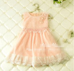 Wholesale Lace Flower Overall - Sweety Children Girls Autumn Winter Dresses Sleeveless Lace Overall Flowers Dresses Princess Gauze Pink Beige Dress Clothing B4102