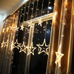 Wholesale Led Christmas Lights Icicle - 6W 138 LEDs 2m 6.6ft Fairy Star Light 12 Stars Window Curtain String Light Fairy Wedding Led Icicle Light Christmas Party Decoration Light