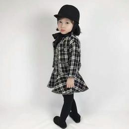 Wholesale Girls Coat Dress Sets - Girls plaid woolen outfits 2018 spring new children falbala vest dress+black white plaid tassel coat 2pcs sets lady style child suits R1551