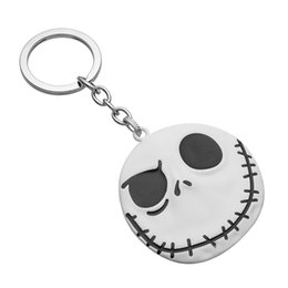 Wholesale Santa Christmas Keys - 2016 New Brand Movie Jewelry The Nightmare Before Christmas Pumpkin King Santa Jack Keychain Skull Head Skellington Men Key Chain