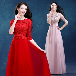 Wholesale Long Sleeved Plus Size Dresses - Robe De Soiree 2016 New Bride Marrige Red Lace Long Evening Dress Banquet Elegant Floor-length Half Sleeved Party Formal Dress