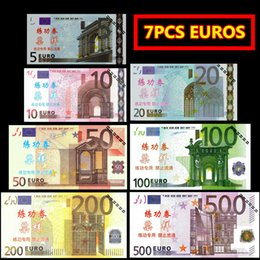 Wholesale Hot Box Train - Hot Gift 7PCS EURO BANKNOTES 500 200 100 50 20 10 5 Bank Staff Training Collect Learning Banknotes Arts Gifts Home Arts Crafts