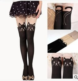 Wholesale Crotchless Sexy Tights - New Cute Cat Knee High Socks Crotchless Tights Black Color 10 Pieces Collant Femme Sexy Stockings