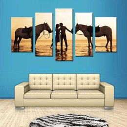 Wholesale Lovers Oils Canvas - 5 Picture Combination Beautiful Sea Oil Paintings A Pair of Lovers And Two Horse for Living Room Home and Wall Decoration