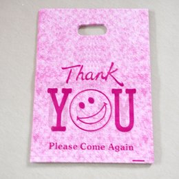 """Wholesale thank plastic bags - Wholesale Hot Pink """"Thank You"""" Design Plastic Bag 25x35cm 50pcs lot Shopping Jewelry Packaging Plastic Gift Bags With Handle"""