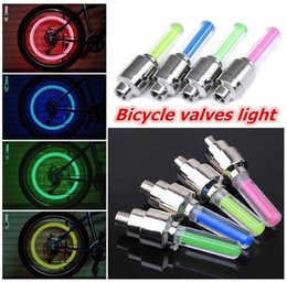 Wholesale Cool Bike Lights - Cool 4 color of choice Bicycle Bike Valve light with no battery tyre Caps Wheel spokes LED Light