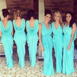 Wholesale Under Glow Lights - Glowing Teal Turquoise Bridesmaid Dresses 2016 V-Neck Draped Ruffles Chiffon Backless Junior Long Bridesmaid Gowns