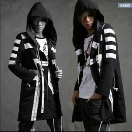 Wholesale Grow Cotton - 2016 high quality club men gentleman personality leisure paragraph dust coat grows in black and white coat loose hooded windbreaker