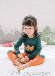 Wholesale Little Girls Christmas Pajamas - Kids pajamas suits Baby girls boys cartoon little lion tops+orange pants 2pcs soft Winter Autumn sets Children Leisure outfits C2123