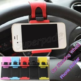 Wholesale Steering Bracket - Universal Elastic Car Steering Wheel Holder Mounts For iPhone 7 7 plus Samsung s7 edge Note 7 GPS Safe Car Stand Bracket