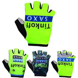 Wholesale Equipment Bikes - Cycling Gloves 2015 Tinkoff Saxo Bank Fluo Green Cycling Gloves Half-finger Pro team Bicycle Gloves Mountain Bike Equipment
