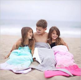 Wholesale Fish Gift Bags - Mermaid Sleeping Bags Mermaid Tail Blankets Baby Shark Fish Cocoon Fairy Tale Mattress Kids Mermaid Sofa Air Blankets Sleep Sack Gifts B3061