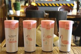 Wholesale Thermal Cup Kids - Flamingo Water Bottle Flamingo Mugs 400ML Stainless Steel Insulation Thermos Cup Coffee Mug Kids Tumbler Travel Bottle
