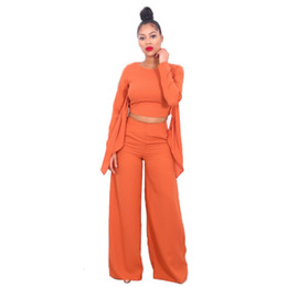 Wholesale Legging Jumpsuits - Wholesale- Adogirl Macacao Feminino Longo New Winter Orange Long Sleeve Crop Top And Wide Leg Pant Jumpsuit Hollow Out Rompers S-XL