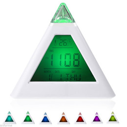 Wholesale Change Lcd - 7 LED Change Colors Pyramid LCD Digital Snooze Alarm Clock Time Data Week Temperature Thermometer C f Hour Home