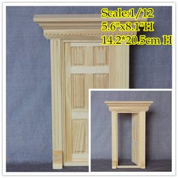 Wholesale Dolls House Furniture Wooden - 1 12 Scale DIY Dollhouse Miniatures Greek Revival Wood Panel Front Door  Doll House Furniture  14.2*20.5 cm Doll house mini hand DIY Craft